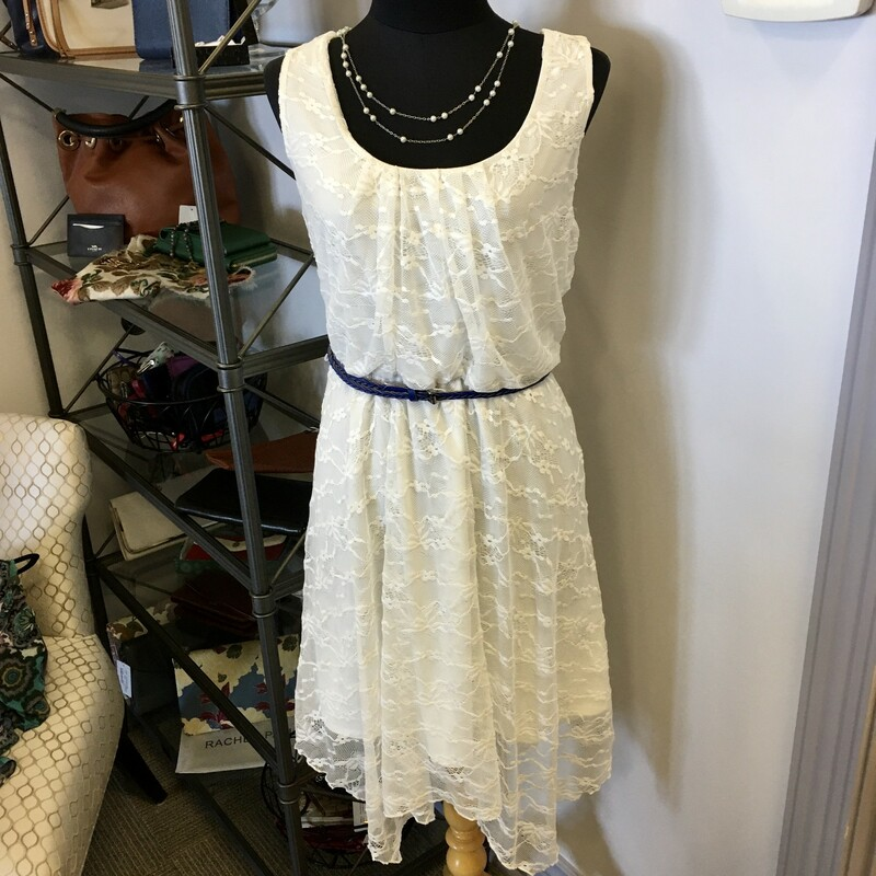 Suzie Shier Dress, Colour: White, Size: XLarge With handkerchief corners on lace layer