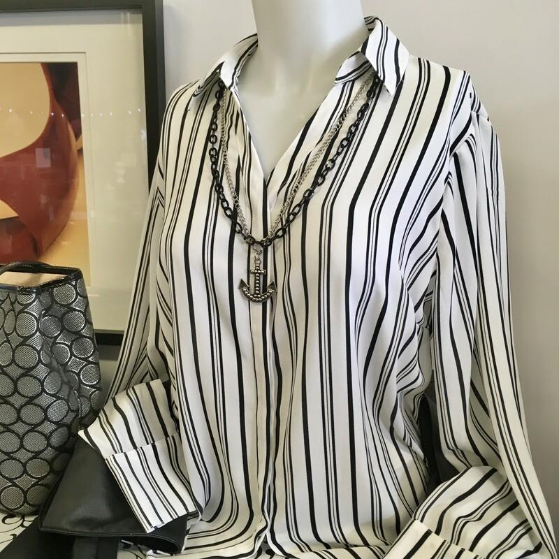 Worthington Blouse Stripe, Colour: White and black, Size: Small