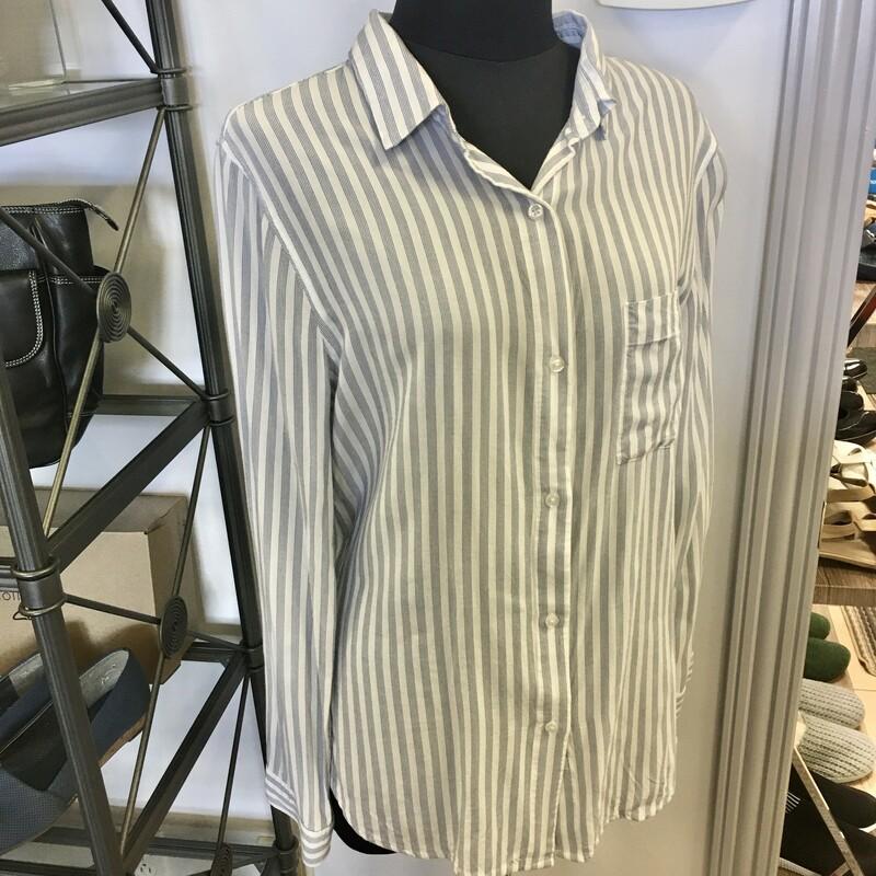 Rails Blouse, Colour: White with grey-blue stripe, Size: Medium 100% Rayon