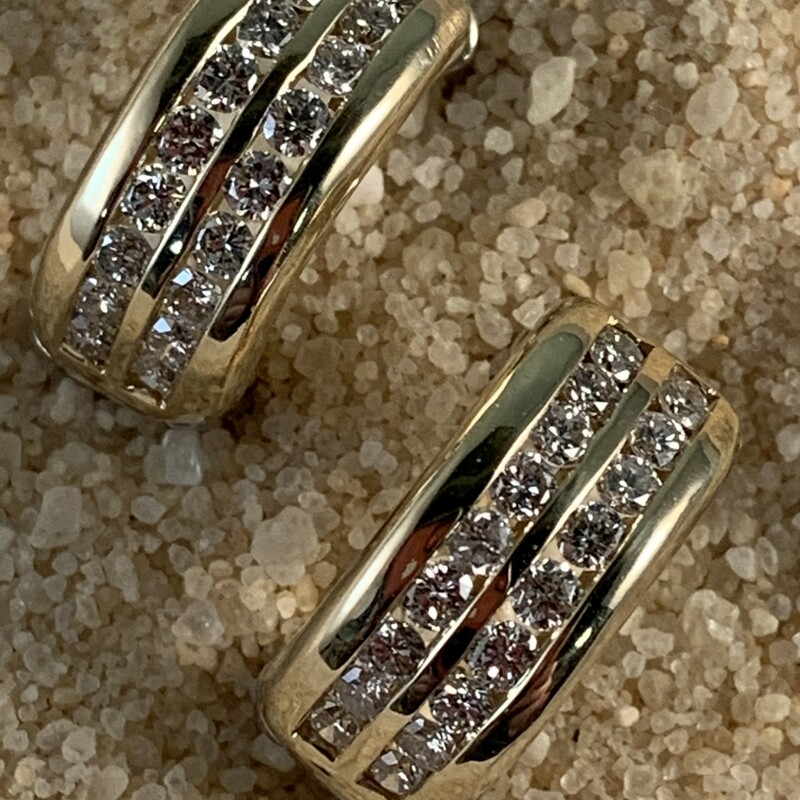 2 Row Diamond Channel Set Huggie Style Earrings 1 Carat Total Weight 14 Karat Two Tone  - Reverses to Polished White Gold 7.3mm wide $855