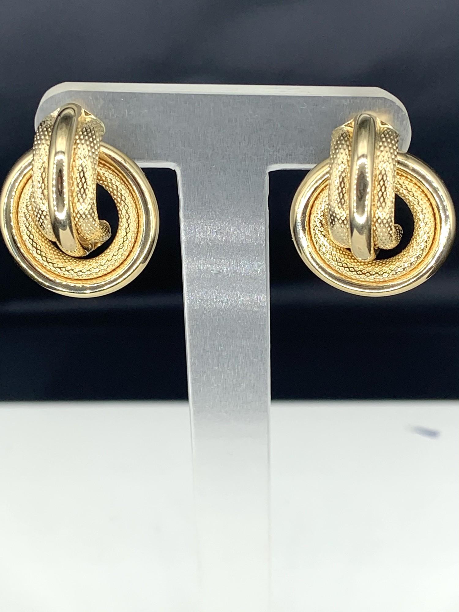 Doorknocker Earrings<br /> Mesh and Polished Combination<br /> 14 karat Yellow Gold<br /> Post Backs
