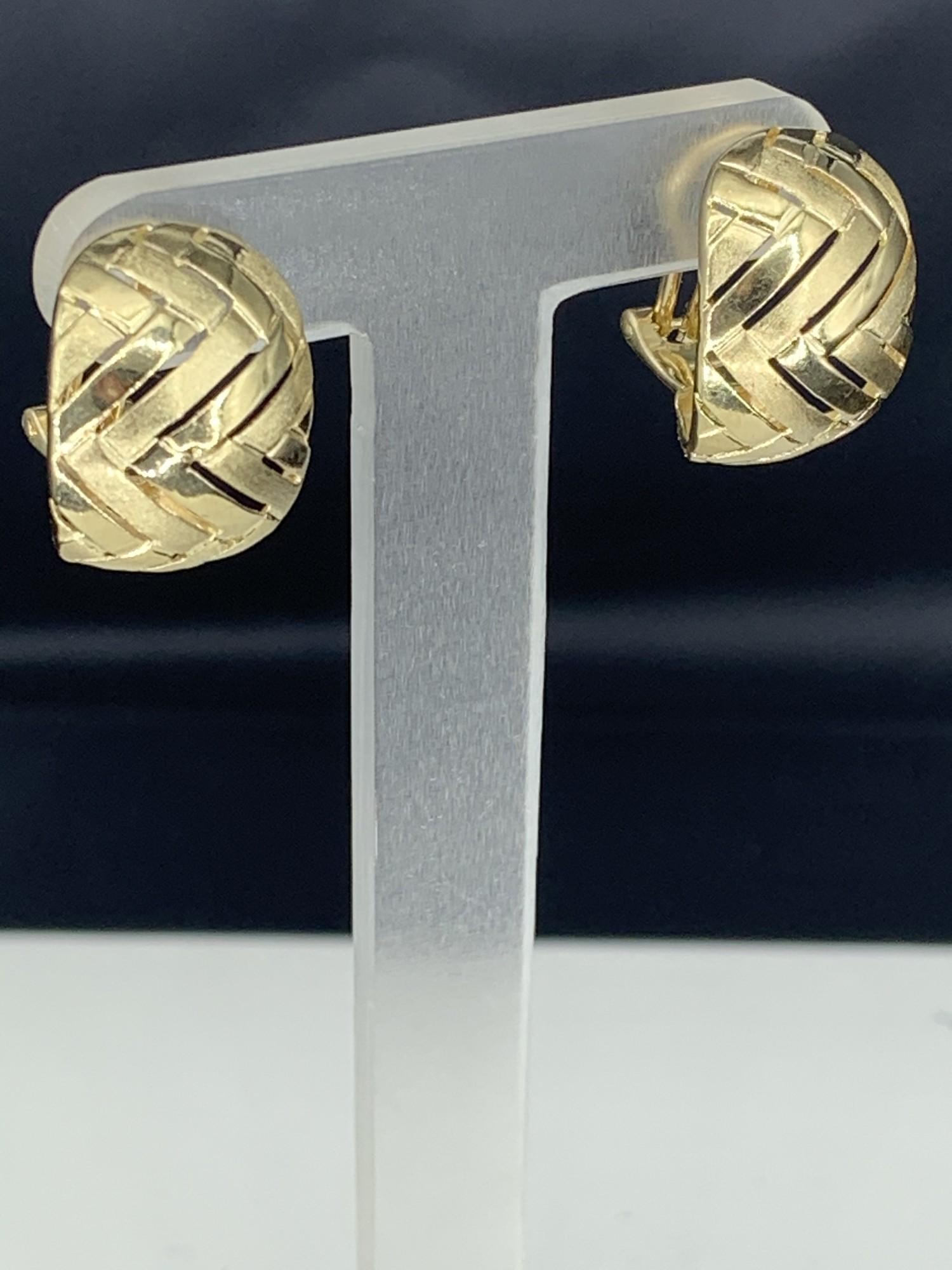 Chevron Design Hoop Earrings with Clip Post Backs<br /> 14 Karat Yellow Gold<br /> 14.5mm Wide
