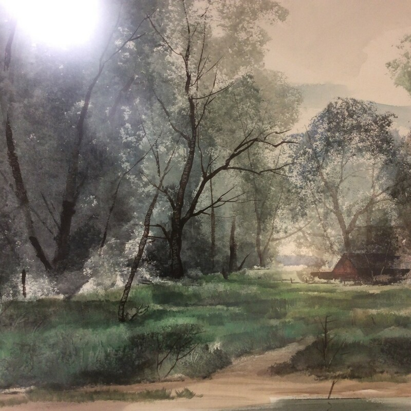 This very pretty watercolor shows a house in the trees with a pond. The greens, grays, and browns are beautiful and kinda brings you into the painting. It is framed beautifully with a burlap matt and gold frame. Measures-43x34