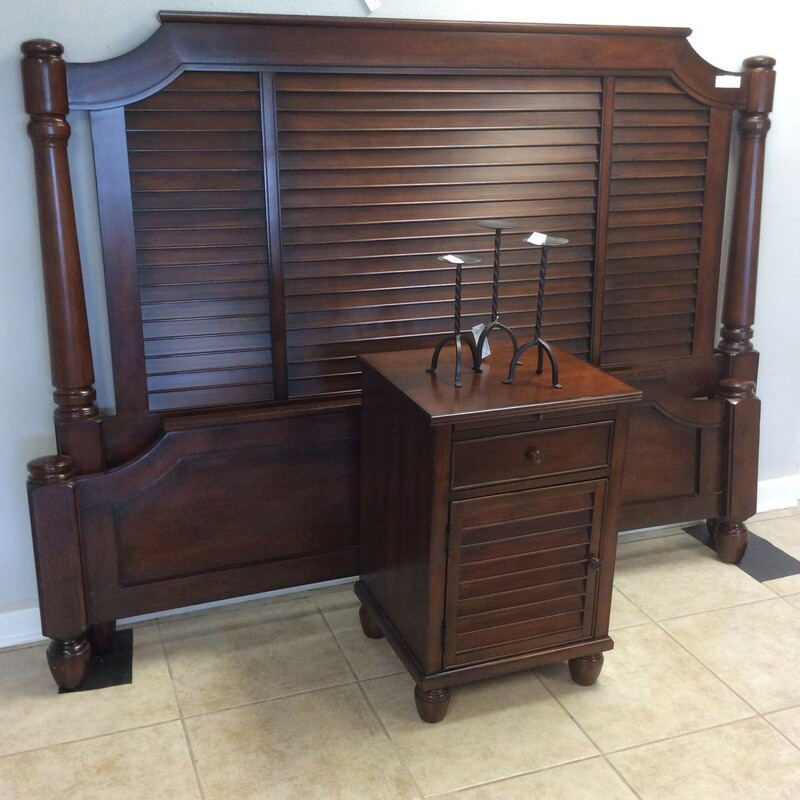 This beautiful deep rich brown headboard and footboard with slats and rails has a shutter look. The end table matches it and has one drawer and one door and a slide out server. This will not last long!