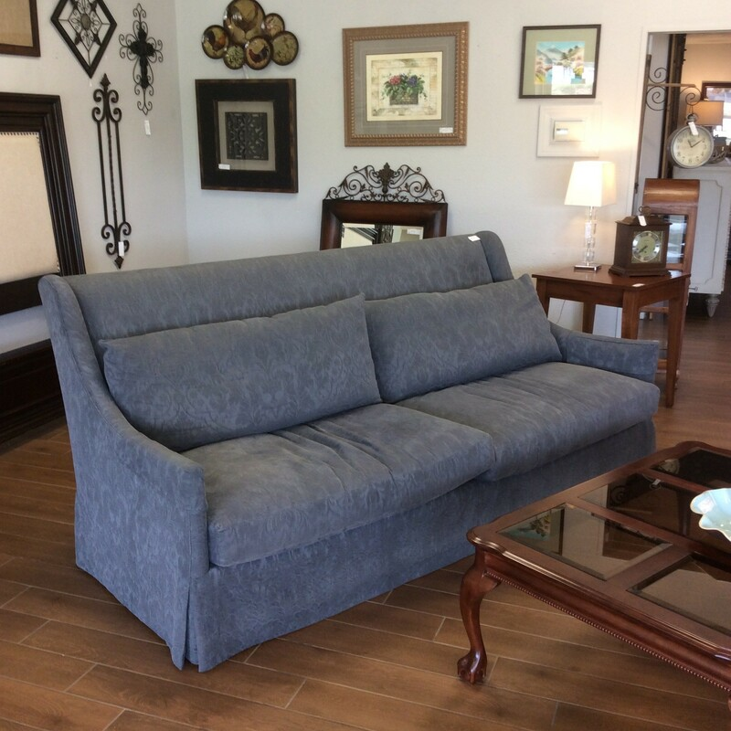 This beautiful Lee featherdown sofa is very comfortable. It is a dark gray soft floral pattern. It is a custom sofa and skirted. Very elegant looking!