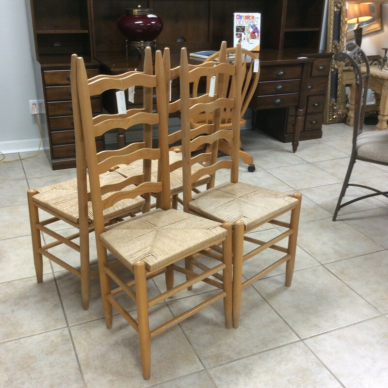Four very sturdy rush cane bottom chairs that are a light maple color. We do have 10 in total in the store right now.