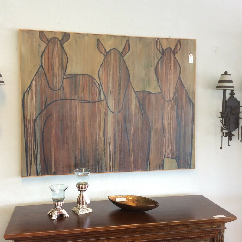 Beautifully done abstract horses on canvas with a natural wood frame. This is done in a drip effect. The colors are blues, browns, tans and rusts. Signed by Brem. Measures 57x44