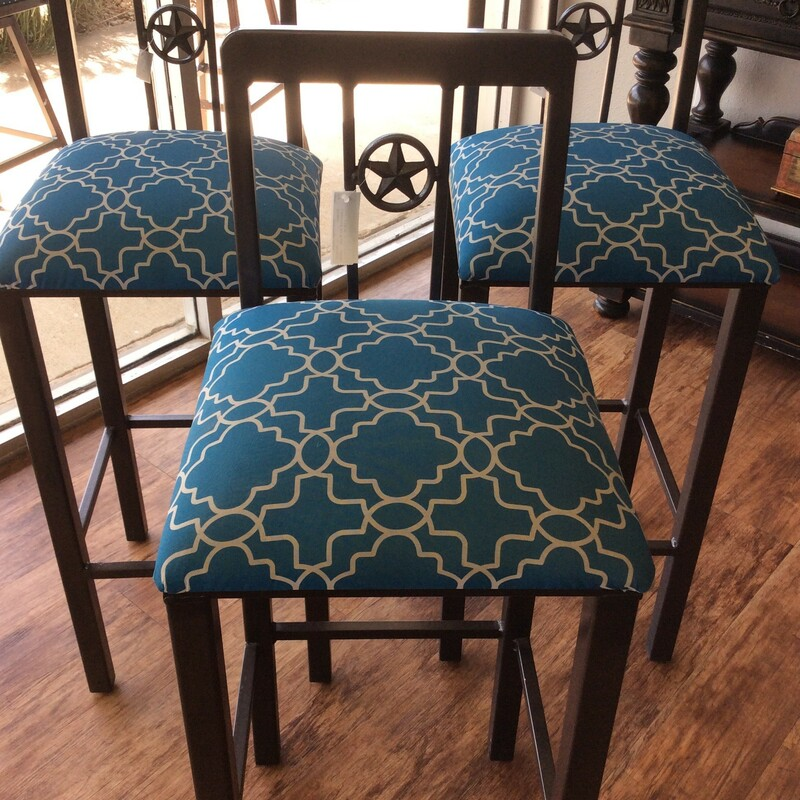 """These 33\"""" Barstools are very sturdy. They have a star in the middle on the back of the chairs. The seats are covered in a very pretty turquoise and white geometric pattern."""