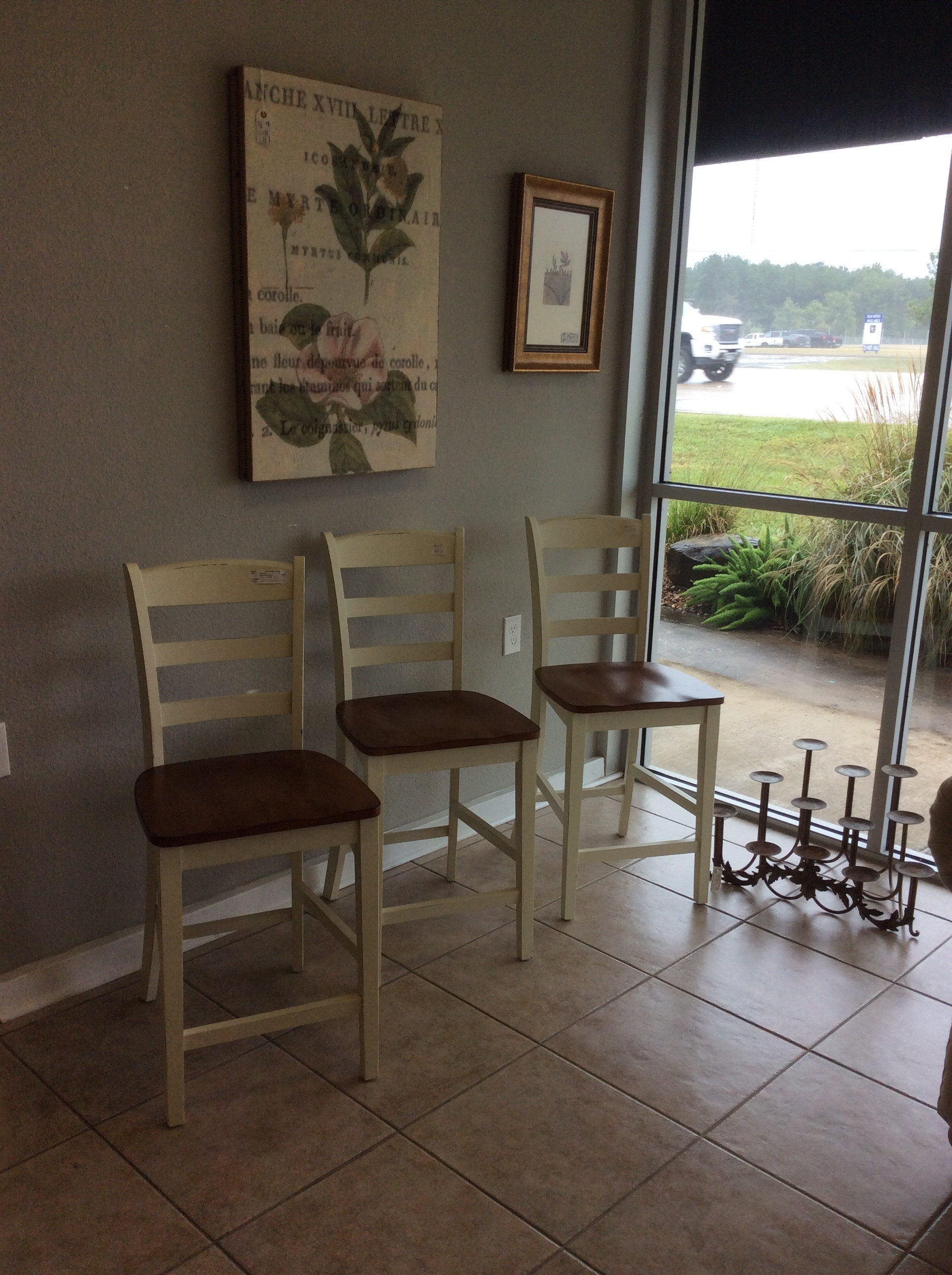 """This set of 3 is super nice! From Flexsteel, they have been painted cream with a little added distressing for that timeless, weathered look. The seat which sits at 24\"""" has a beautiful oak wood finish. Great condition and priced well!"""