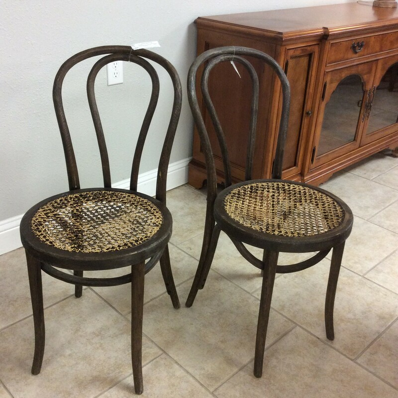 Pair Bentwood Chairs/Cane