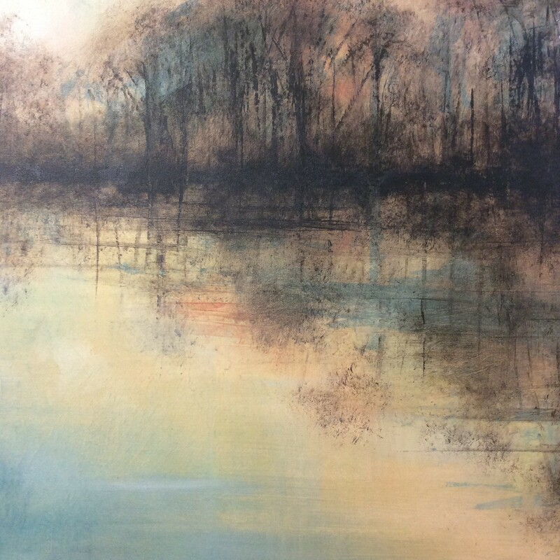 Gorgeous! Sunrise or sunset, I'm not sure, but whatever it is it will captivate the imagination! The colors are soft and ethereal, the image- a simple treeline along the waters edge. Beautifully double-framed and signed.