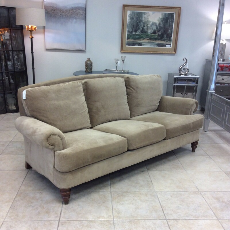 Classic and traditional style, this sofa by Ethan Allen has been upholstered in a camel blend that is as smooth as butta'!