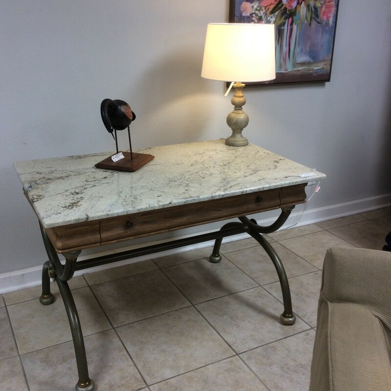 Lane wood granite top desk on a grey metal base. Very pretty and sturdy Measures 48x30x30