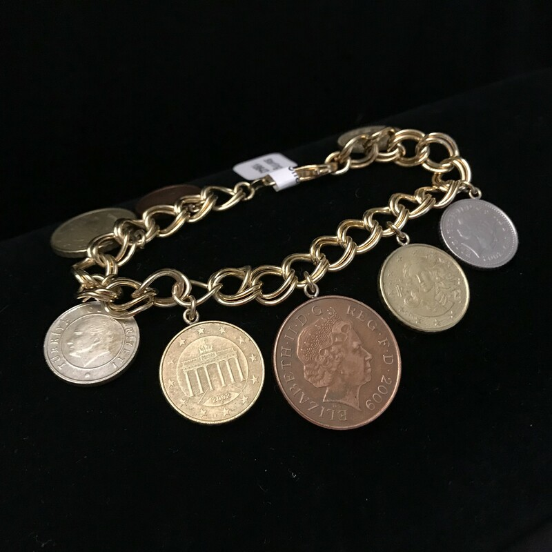 Gold Tone Sterling Coin C