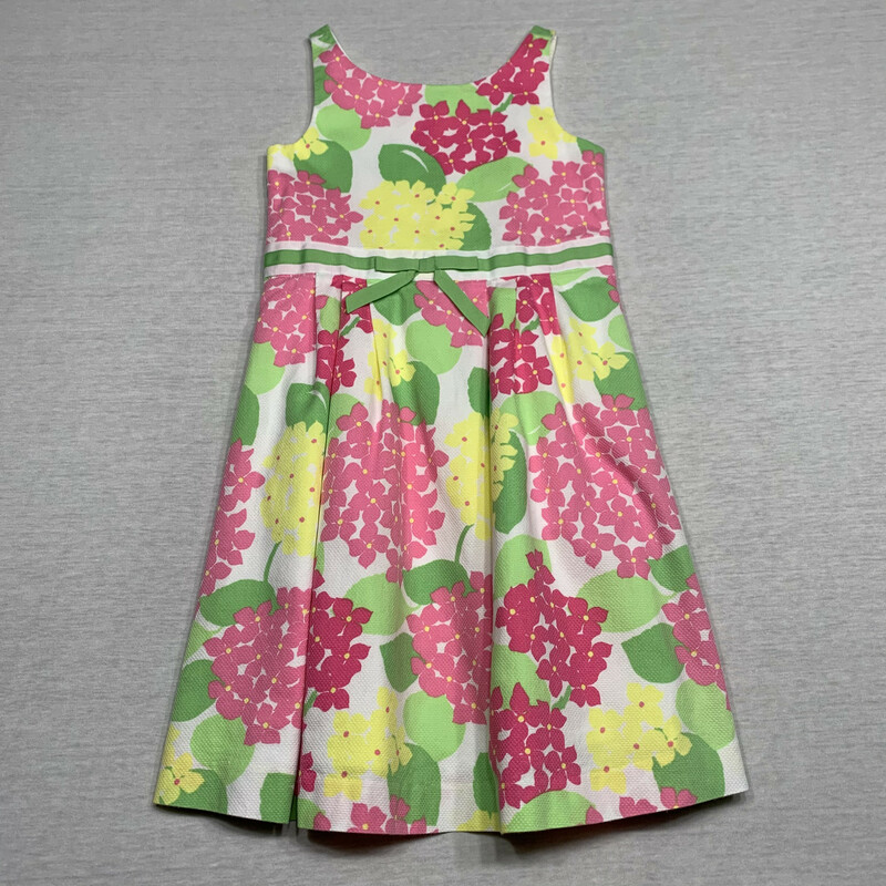 Textured cotton, floral dress with full lining