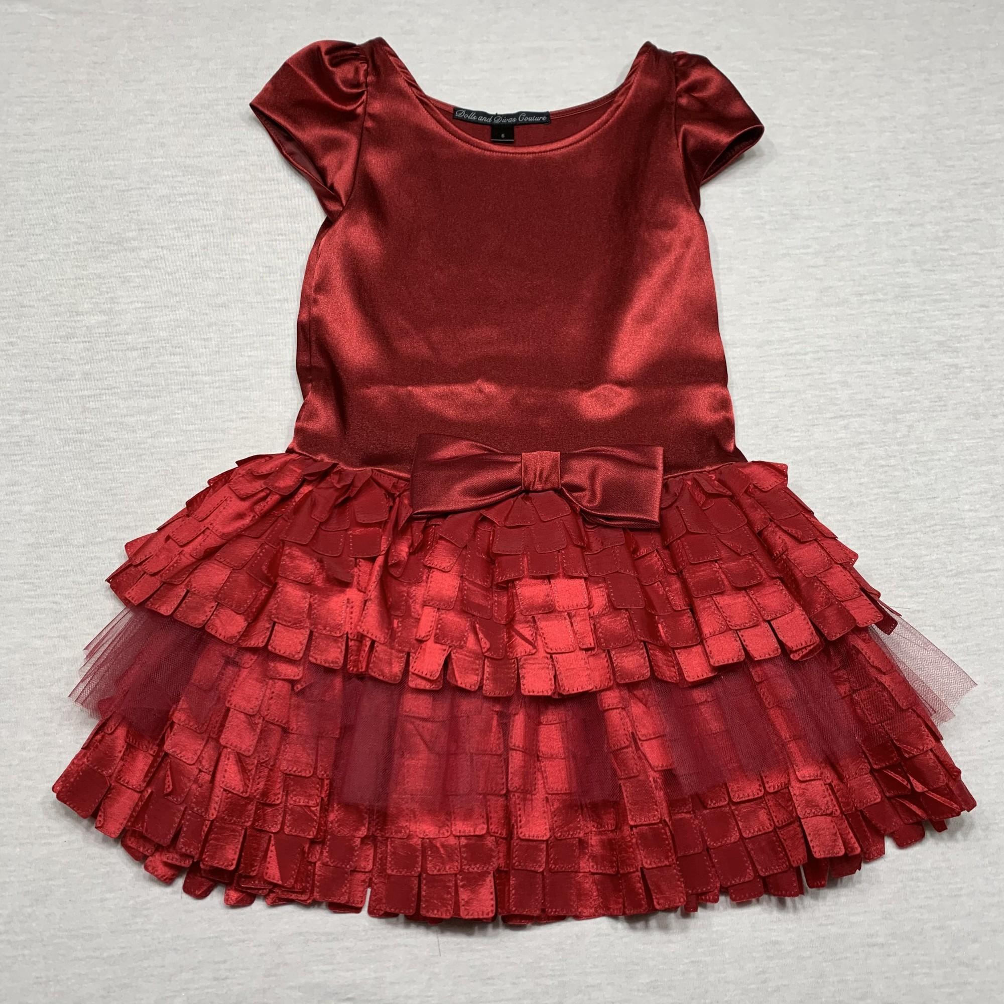 Dress with satin bodice & layered satin/tulle skirt