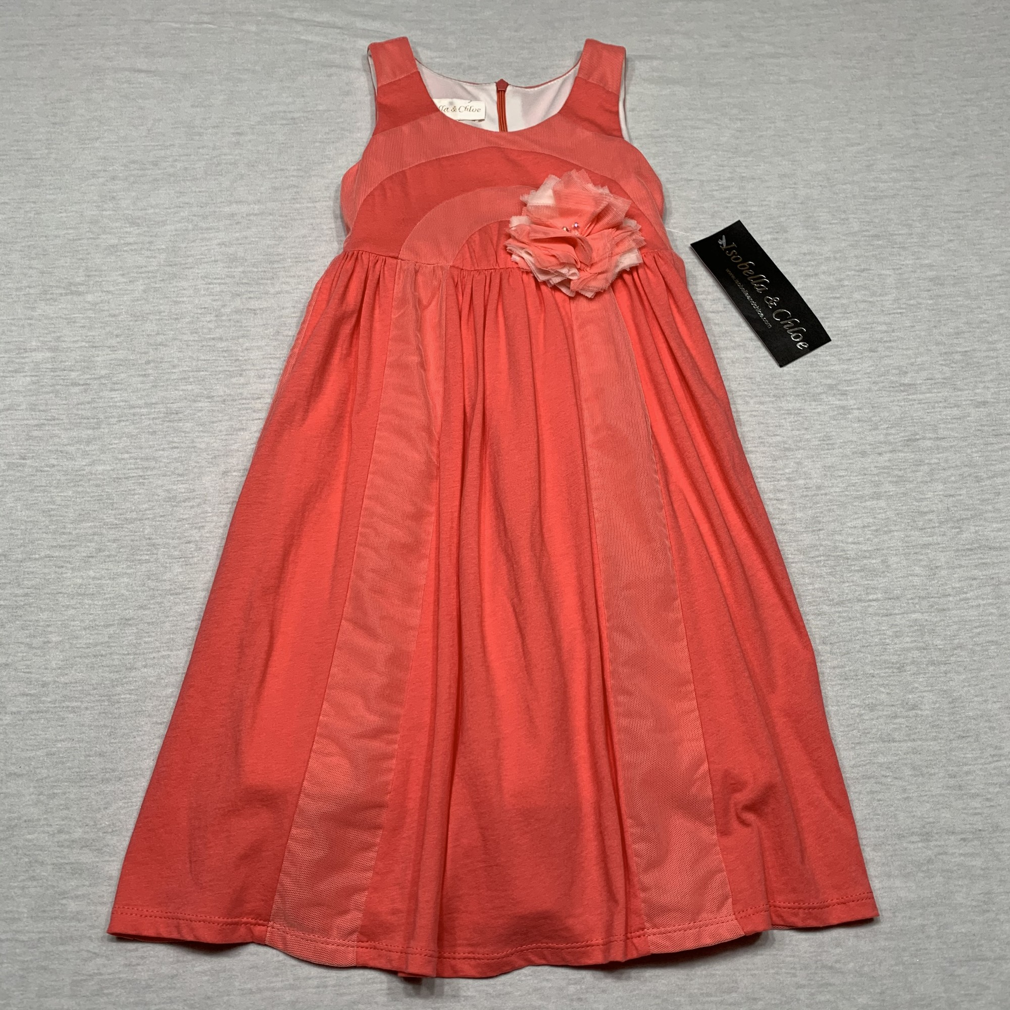 NWT Knit dress with tulle insets, tie in back & full lining