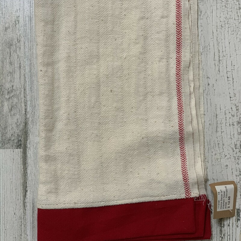 Tea Towel W/ Straight Red