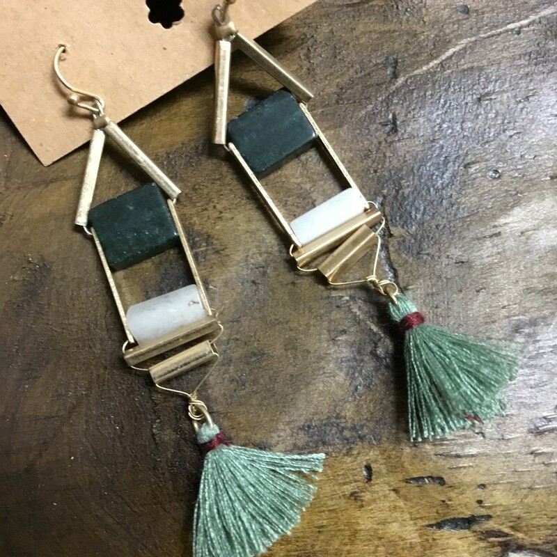 Green Ladder Tassel Earri