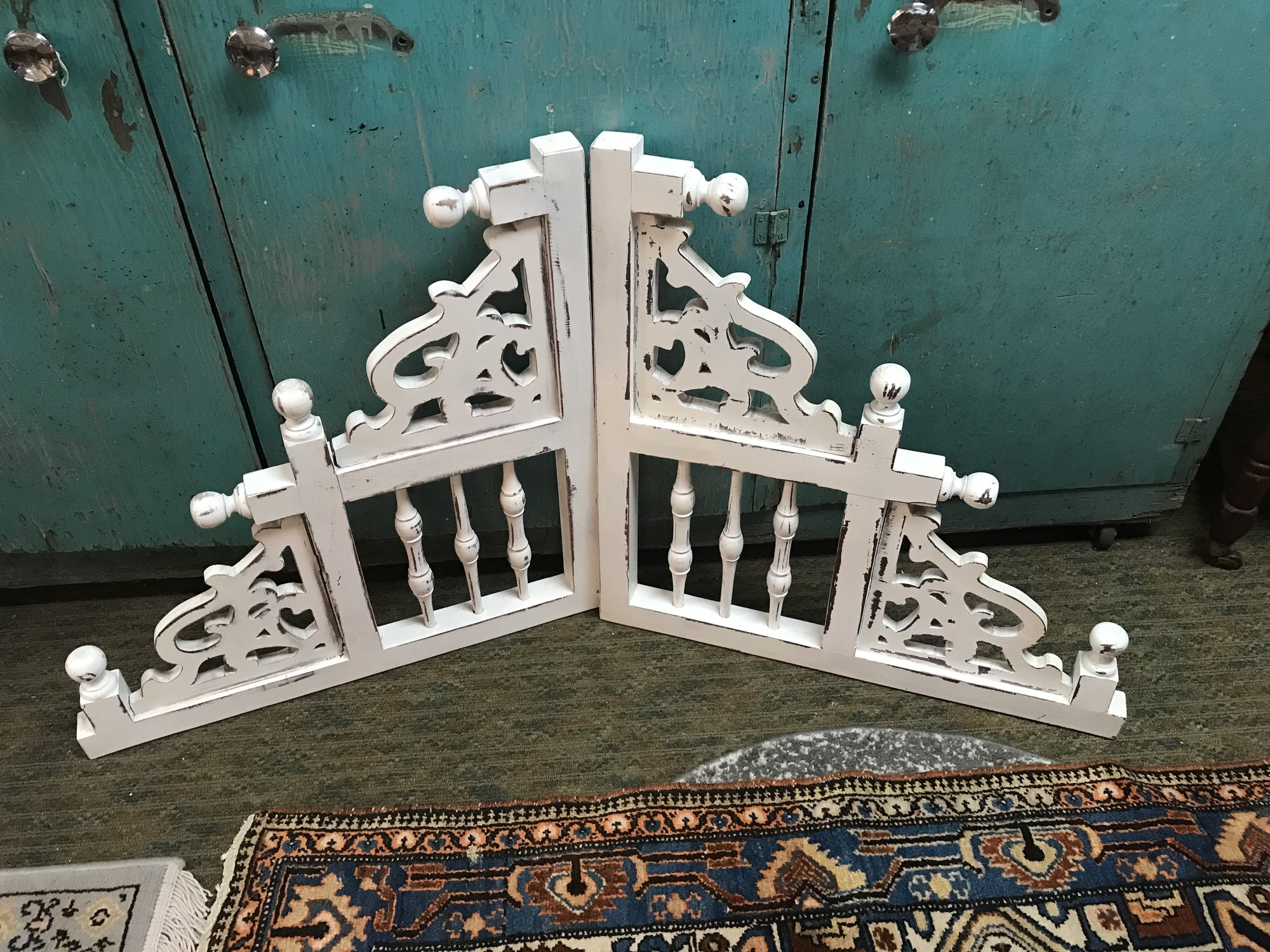 Shabby chic cottage style ornate white corbels.<br /> Measurements 27.5in x 27.5in