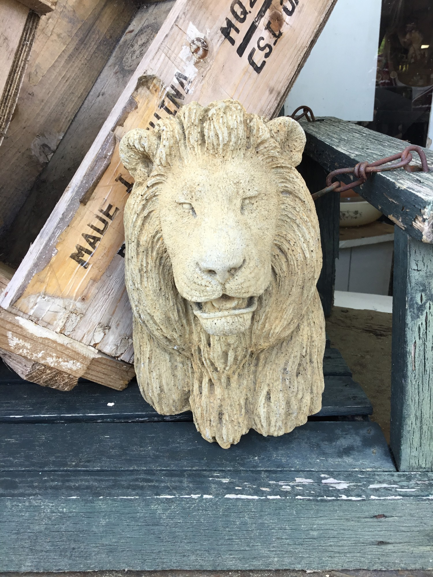 Add a little decorative concrete lion face to your garden or porch with these guys. Each of them was hand poured and locally done. It measures 8 inches tall and 5 inches wide.