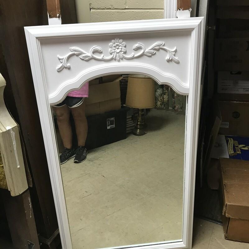 Shabby White Ornate Mirro