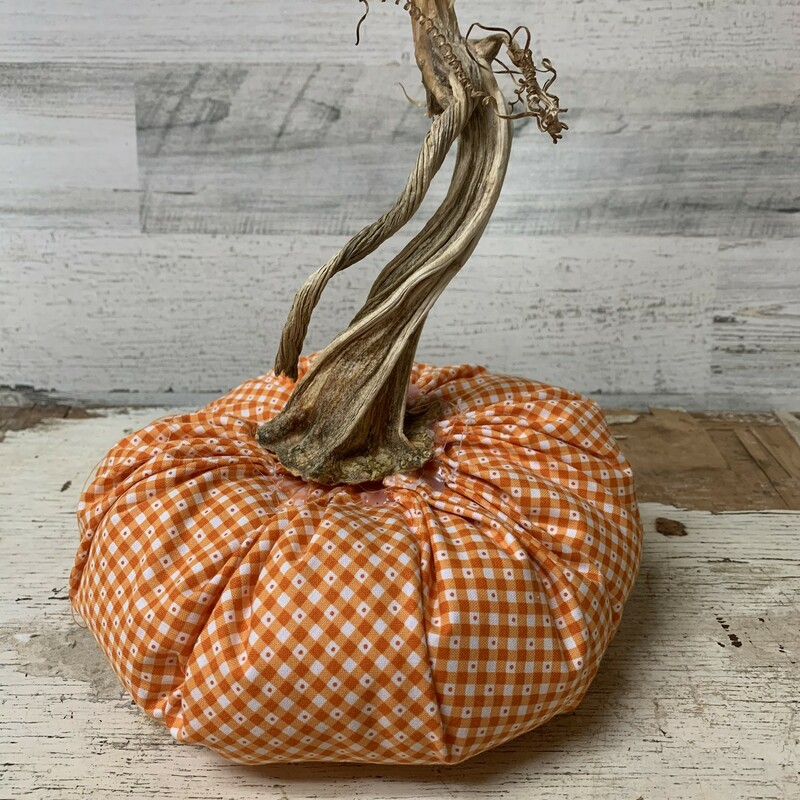 Add a sweet, decorative touch to your fall decor with this Orange Fabric Decorative Pumpkin. Perfect little centerpiece, accent, diy projects.  It will definitely welcome fall into you house with style. Measures approx 10'' tall total and  7 1/2'' wide. Please make sure to look at all the pictures! Thank you so much!