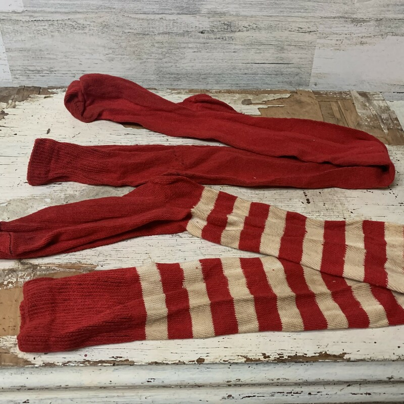 Vintage Christmas stockings/socks. These will definetly bring  you rustic/cottage style christmas vibes into your lovely  house. Have 12 total. 6 - red and white 6 - solid red Measures approx 31'' long, 3'' wide.