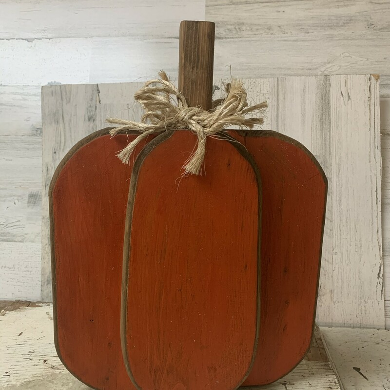 The perfect addition to your fall decor are these orange wooden pumpkins. Each one measures 16 inches tall x 12 inches. wide. We also have these in cream. So cute to mix and match.