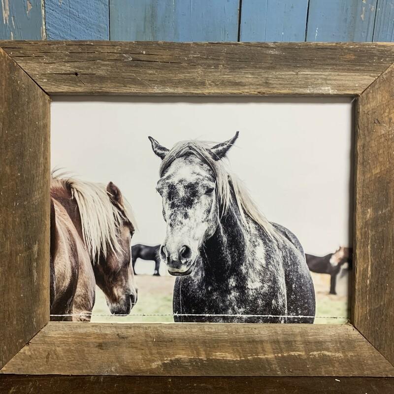 Black White Horses Print