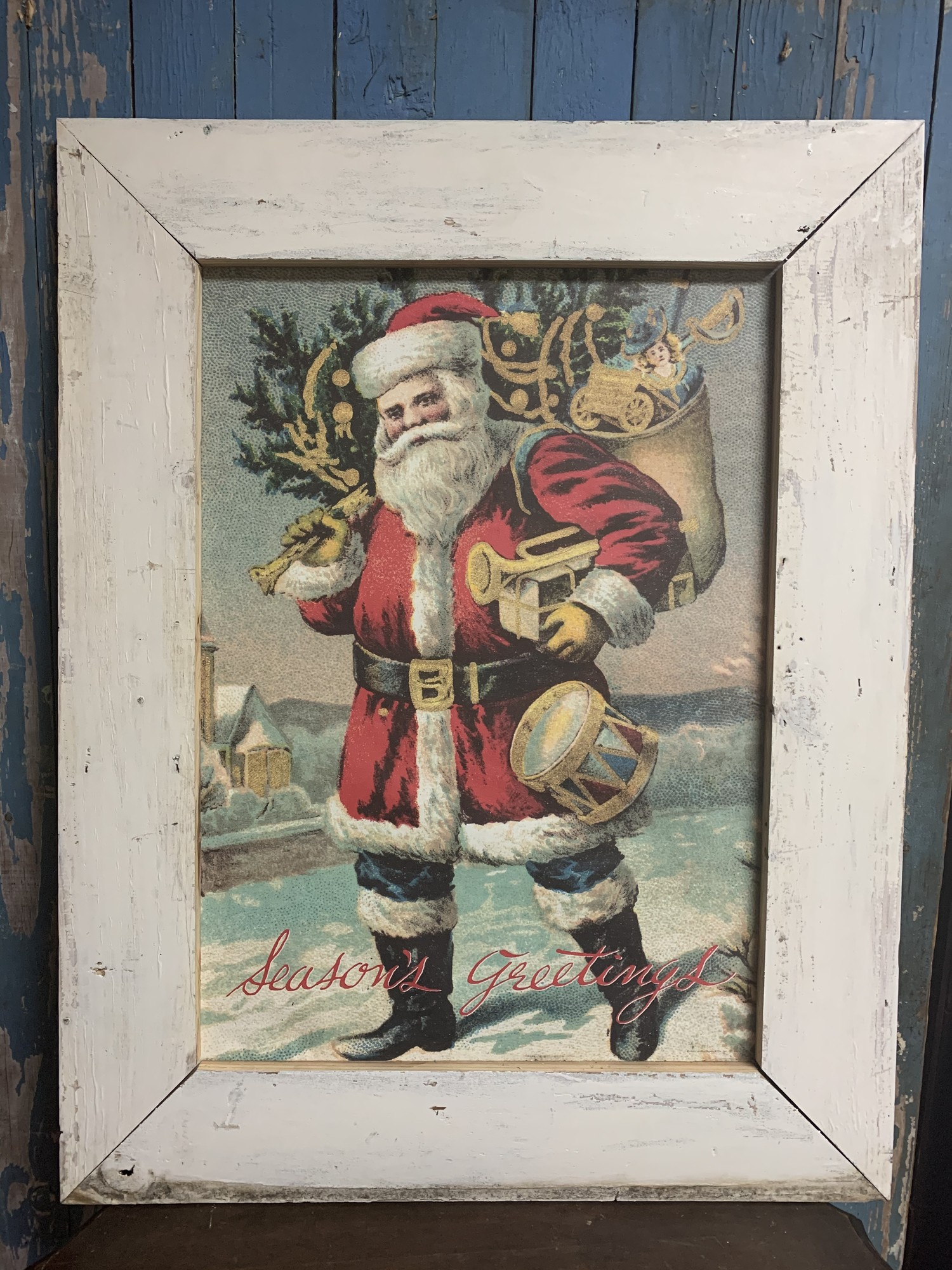 Beutiful Santa Claus Framed Print. Perfect addition to your christmas decor. Measures approx. 33'' x 25'' x 1''<br /> Frame 18'' x 25 1/2''<br /> Have four frame colors<br /> 1 - Red<br /> 1 - Green<br /> 1- White<br /> 1 - Distressed White<br /> Please let us know which you want, when placing an order.<br /> Thank you.