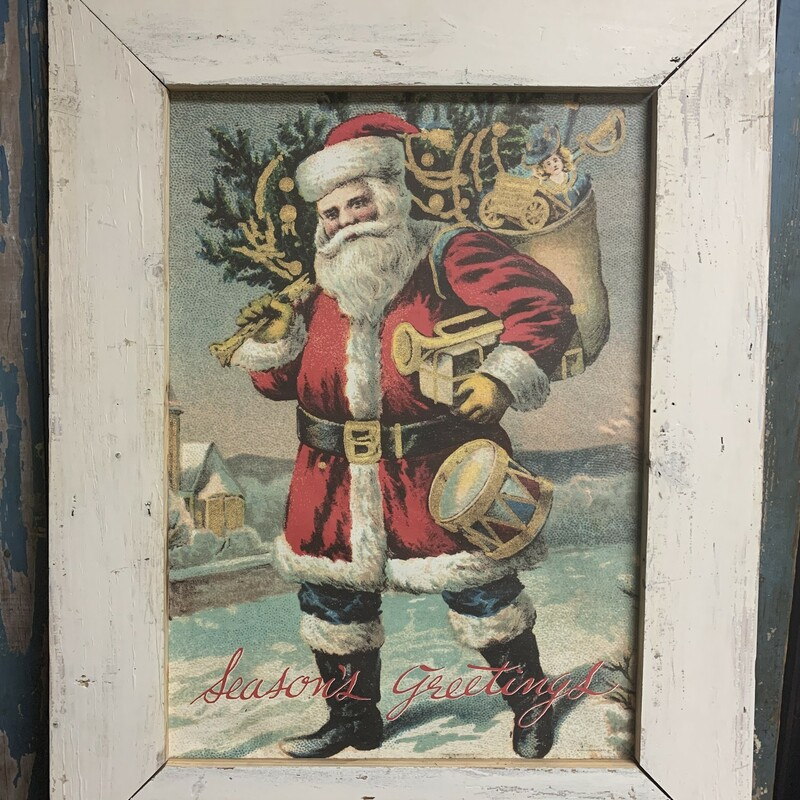 Beutiful Santa Claus Framed Print. Perfect addition to your christmas decor. Measures approx. 33'' x 25'' x 1'' Frame 18'' x 25 1/2'' Have four frame colors 1 - Red 1 - Green 1- White 1 - Distressed White Please let us know which you want, when placing an order. Thank you.