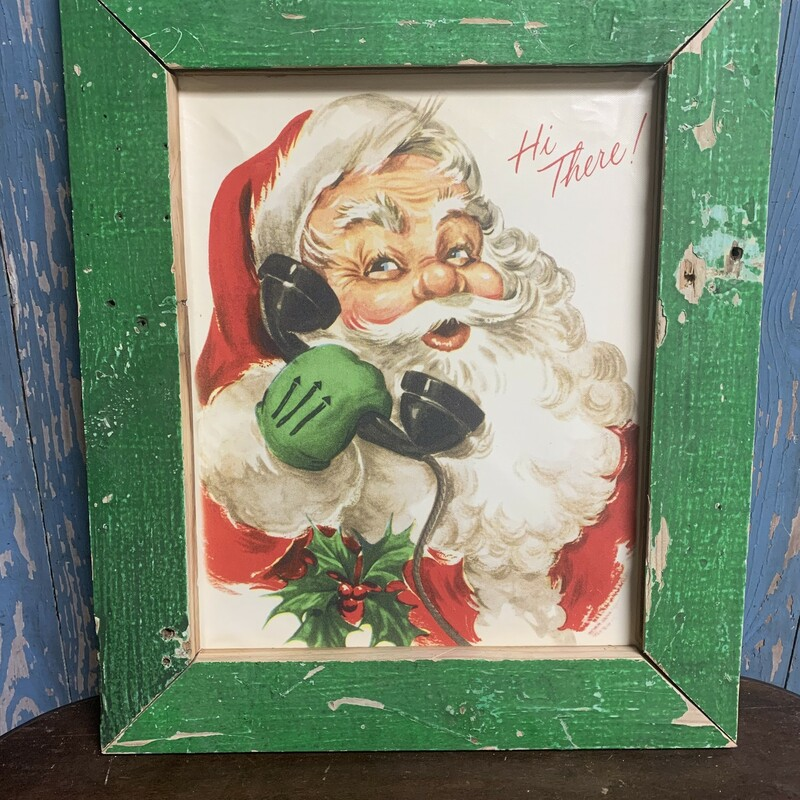Handmade Vintage Santa  Print. Perfect rustic decor addition to your home. Measures approx frame 18 1/2'' x 15''  x 1'' print 14'' x 11'' 1 - red frame 2 - chippy green frame 2 - green frame