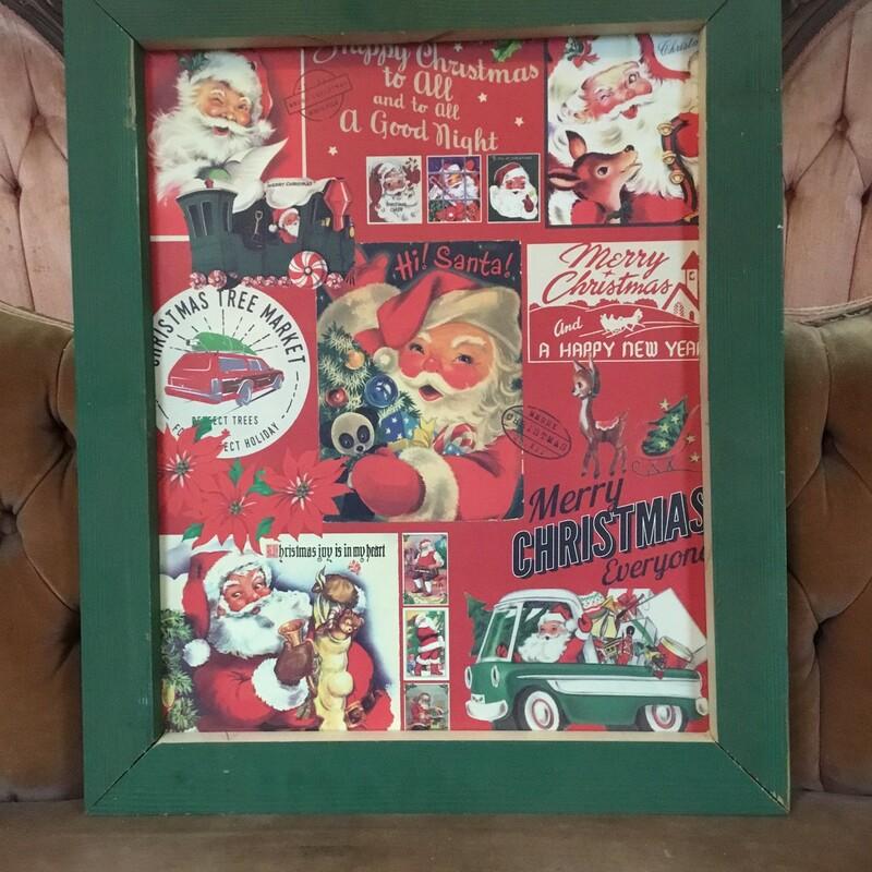 Framed Vintage Santa