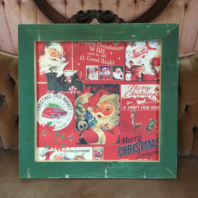 Handmade Vintage Santa  Print. Perfect rustic decor addition to your home. Measures approx frame 19'' x 18''  x 1'' print 15'' x 14 1/2'' 1 - red frame 2 - green frame
