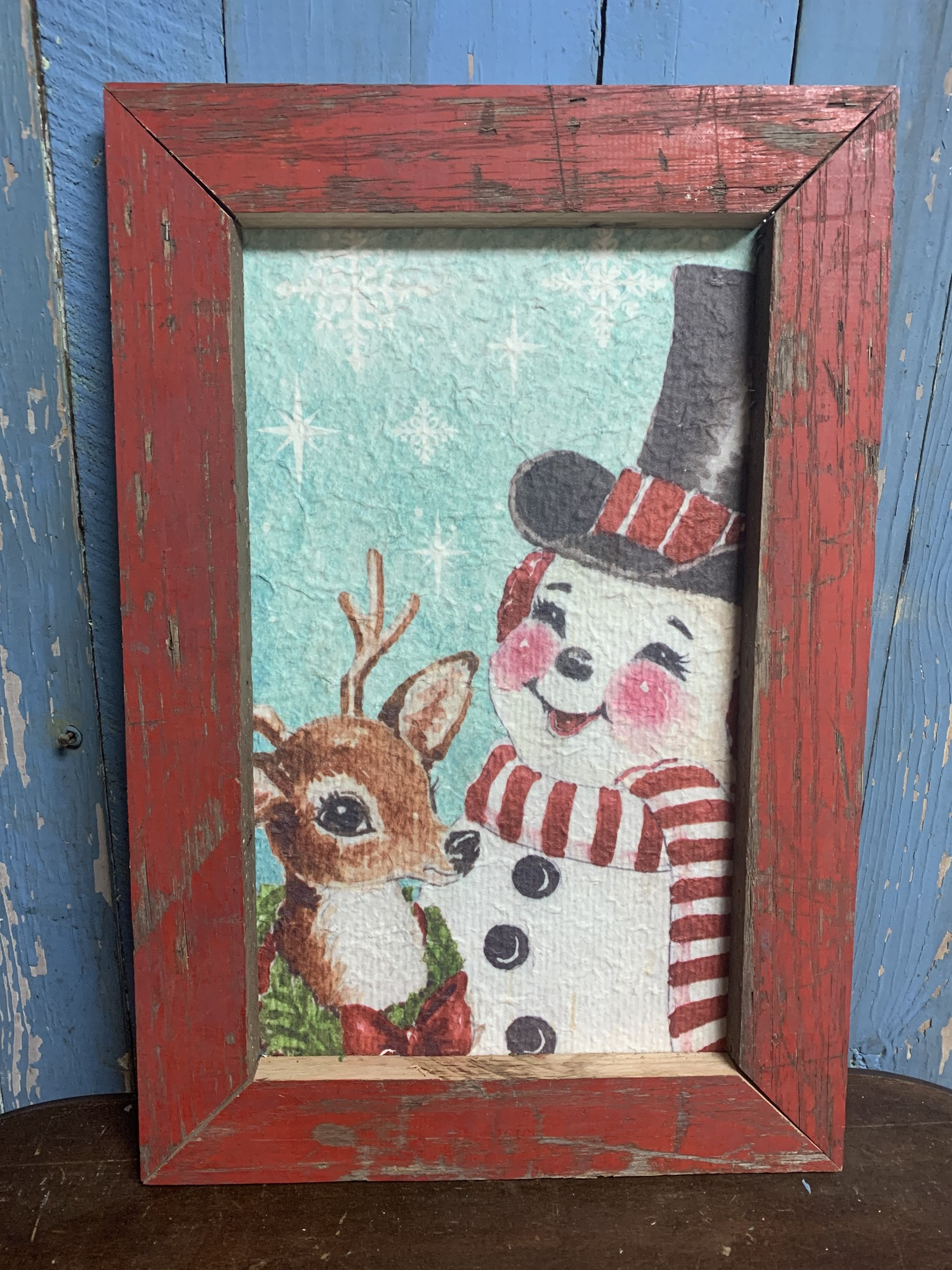 Handmade Vintage Snowman Reindeer Print. Perfect rustic decor addition to your home. Measures approx frame 19'' x 13''  x 1'' print 9'' x 15''