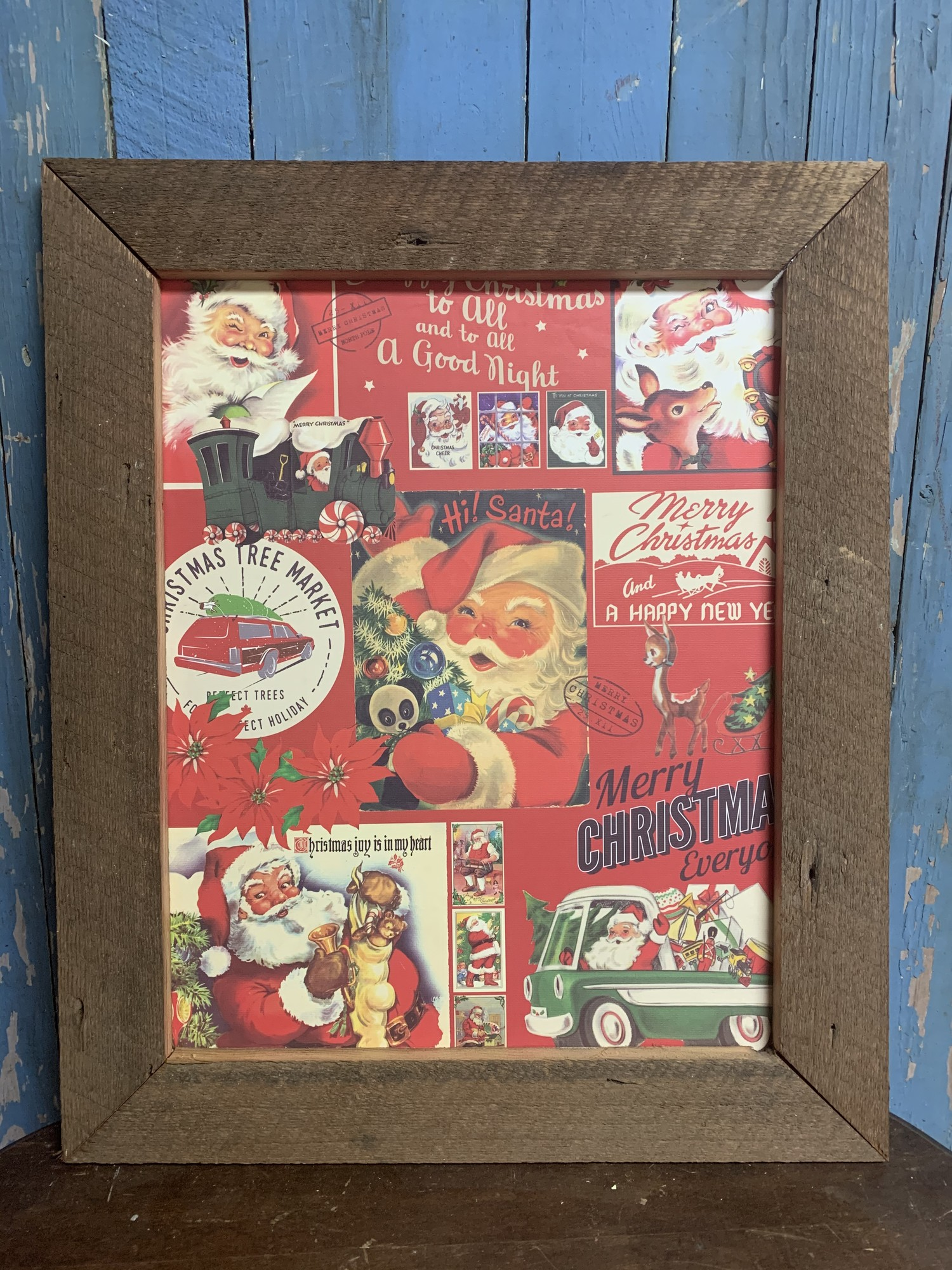 Handmade Vintage Santa  Print. Perfect rustic decor addition to your home. Measures approx frame 23'' x 19''  x 1'' print 18'' x 14''