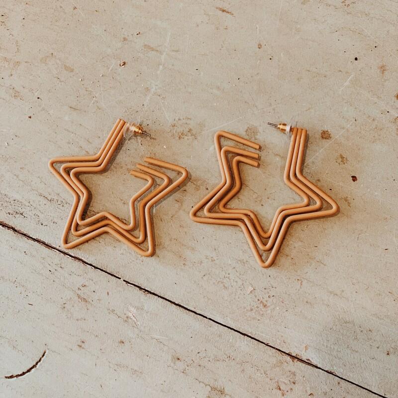 Tan Star Earrings