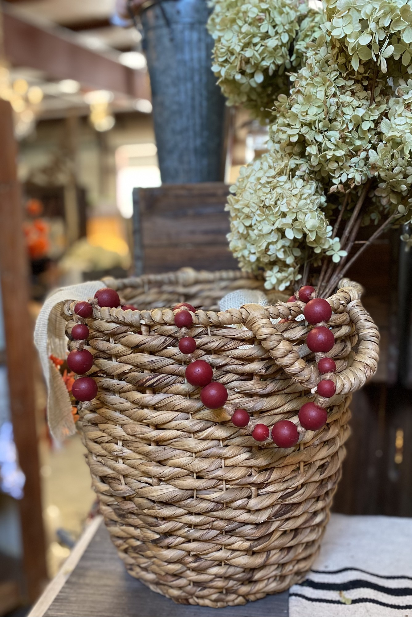 Gorgeous Cranberry beads look beautiful with any decor.  Drap over books, in vases, on your mantle or anywhere that needs just that little touch. These beads measure 42 inches in length