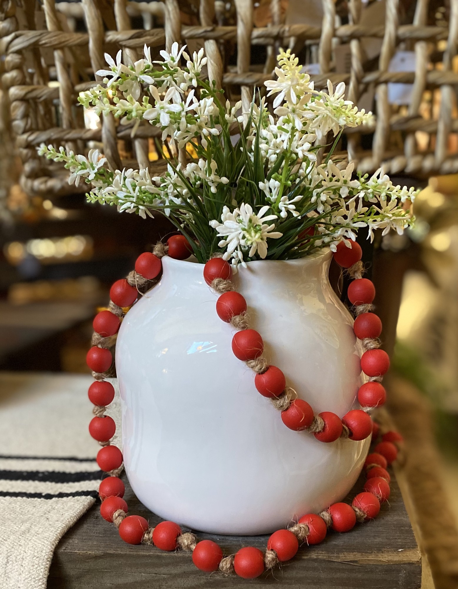 Love these beautiful red beads. These measure 38 inches in length and are perfect for our red loving customers. Grab a set today and enjoy there simple addition to your decor