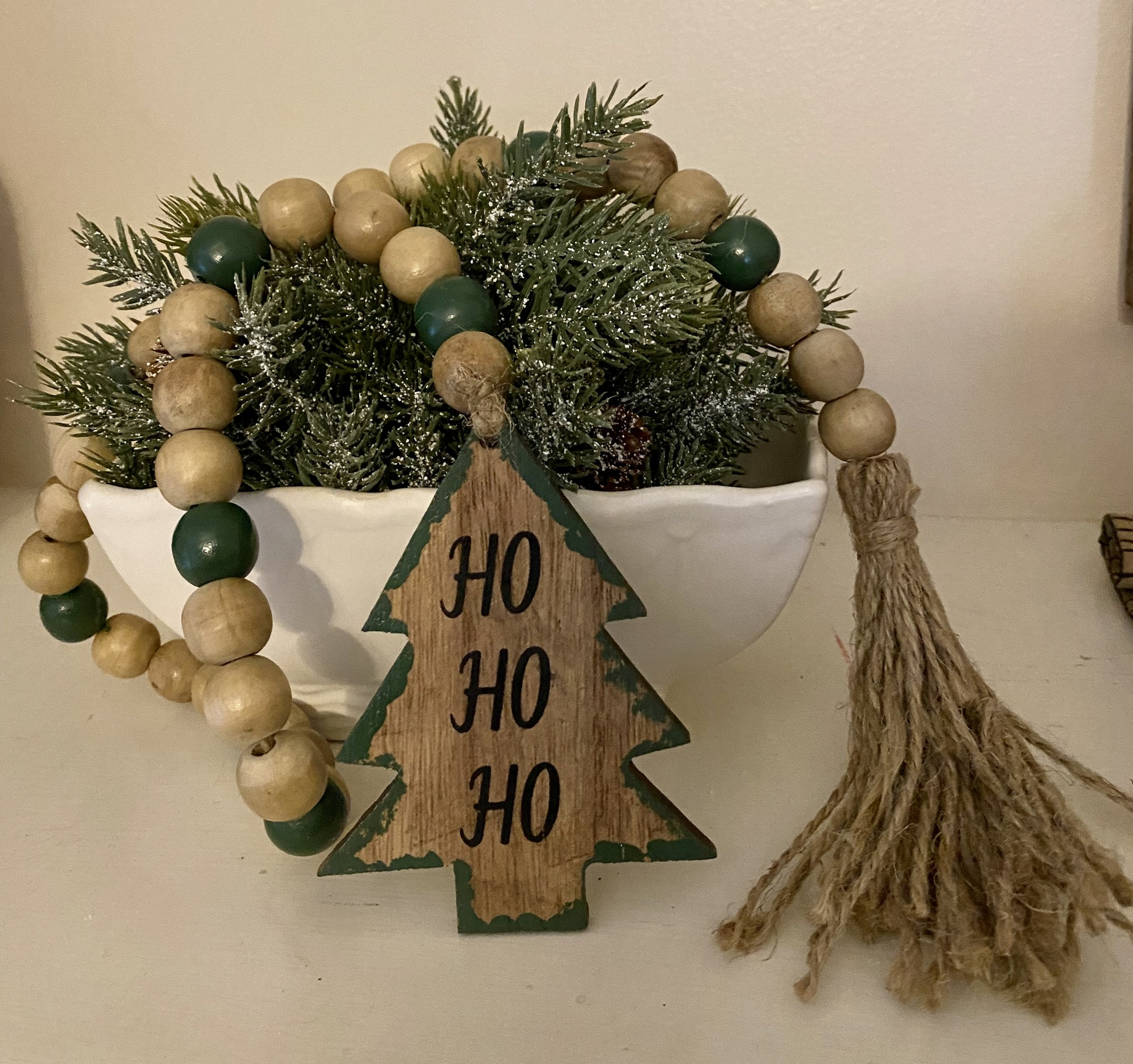 """Adorable 36"""" wooden beads with tassel and wooden Christmas tree"""