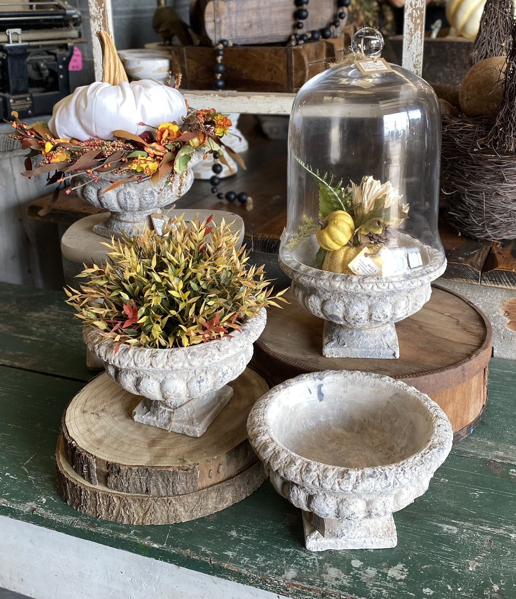 This beautiful solid cement urn measures 9 inches in diameter and is 6 inches tall<br /> The uses for this sweet urn are endless