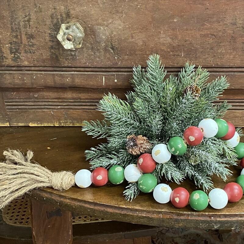 Lg Wood Beads  Christmas