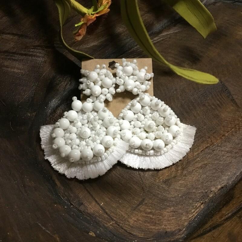 White Boho Earrings