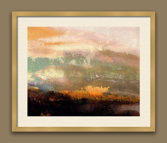 """IMAGINATION 253, DIGITAL ABSTRACT<br /> Signed Print..wood frame with white matting<br /> <br /> 21"""" x  25""""<br /> <br /> Digital Artist's Inspiration..""""Initially it derives from nature.  Imgination then takes the wheel and I just hang on and Enjoy the Ride!"""""""