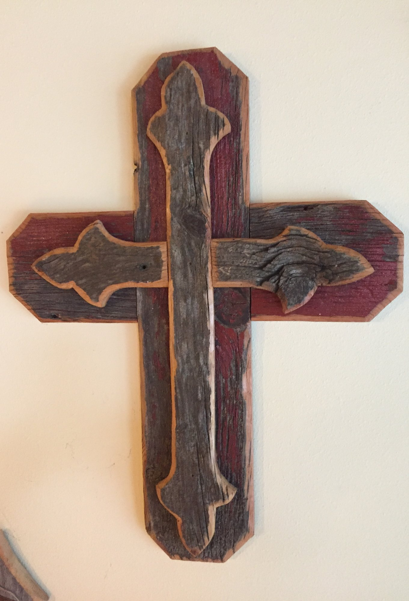 22 IN DBL WOOD CROSS<br /> <br /> H: 23 INCHES    W: 17.5 INCHES<br /> <br /> INSTORE PICK-UP OR SHIPPING