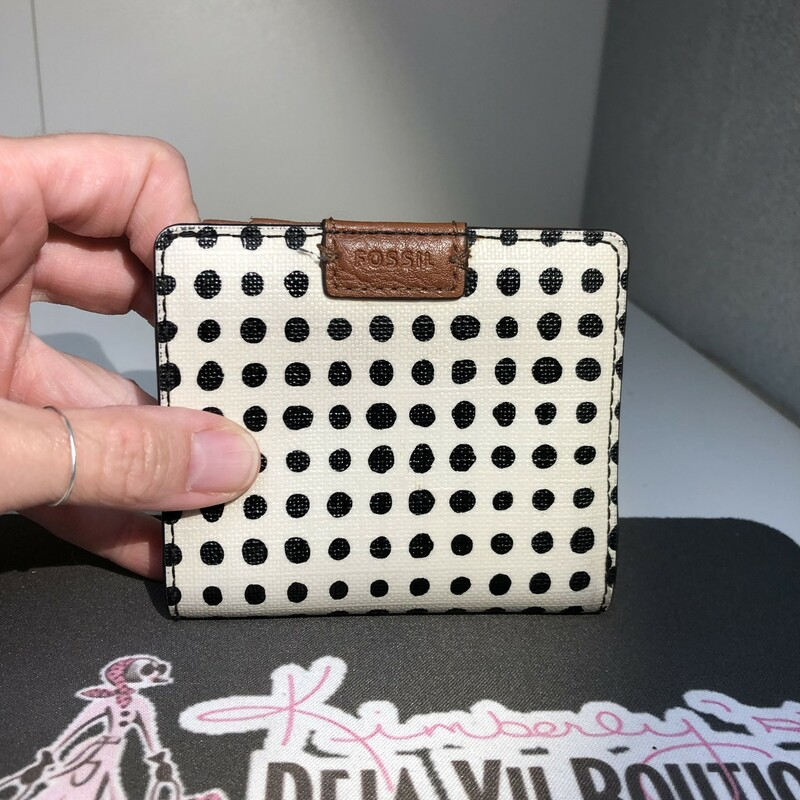 Polkadot Mini Wallet, Cream with Black Dots in Excellent preloved condition
