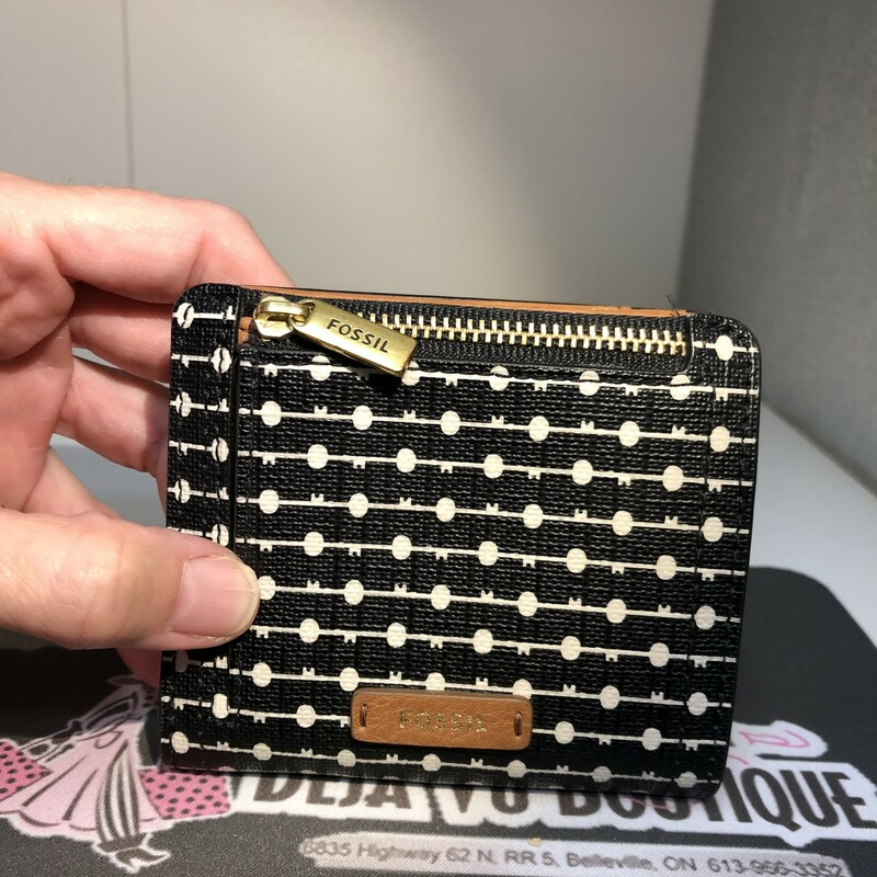 Stripe Polkadot Mini Wallet, Black with White dots and stripes in excellent preloved condition