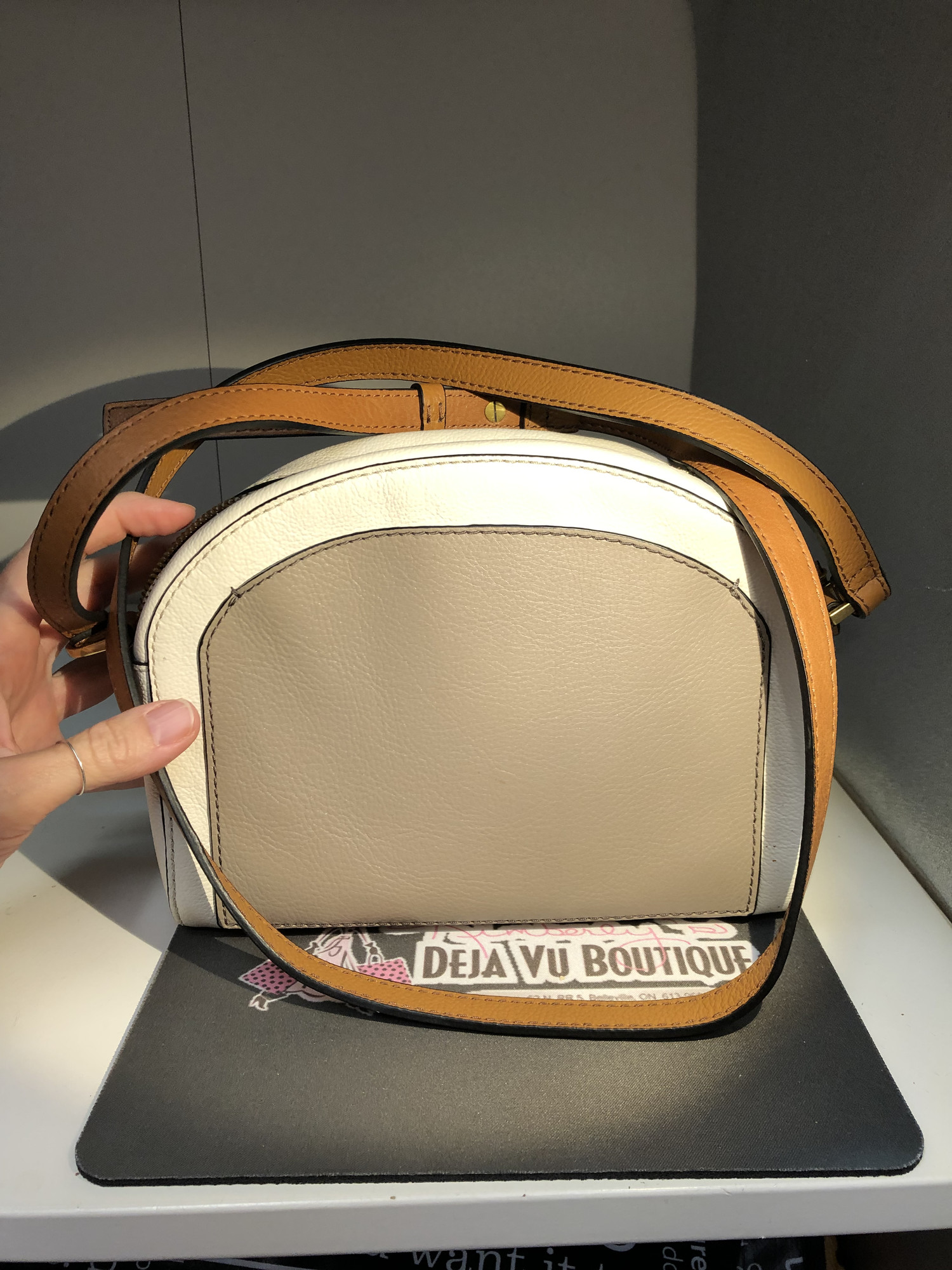 Leather Purse, Ivory with Grey Pouch and Brown Handle in Excellent preloved condition