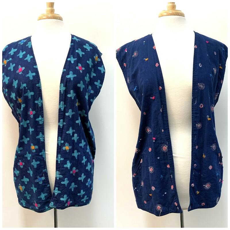 Marketplace Boho Vest Embroidered Reversible Navy/Multi Size: Large